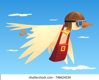 A carrier pigeon with leather flying cap and goggles carrying a satchel.