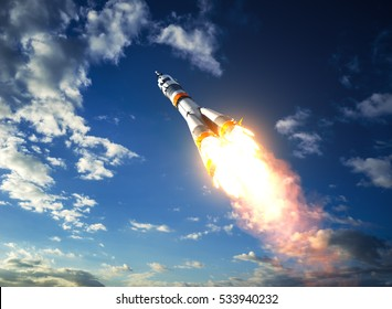 Carrier Rocket Takes Off To The Clouds. 3D Illustration.