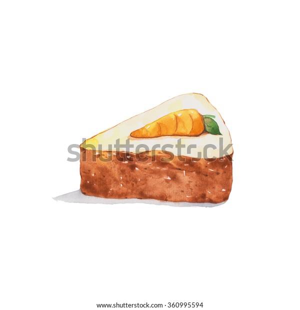 Carrot Cake Watercolor Painting Stock Illustration 360995594 En este breve y sencillo vídeo podréis ver cómo hacer una tarta de zanahoria o carrot cake. https www shutterstock com image illustration carrot cake watercolor painting 360995594