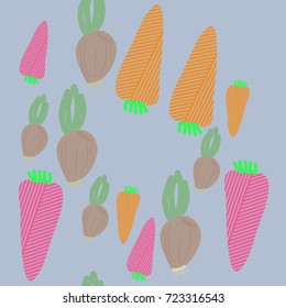 Carrot striped, onion pattern . Hand drawn.