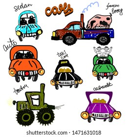 Cars in cartoon childish style. Hand drawing illustration