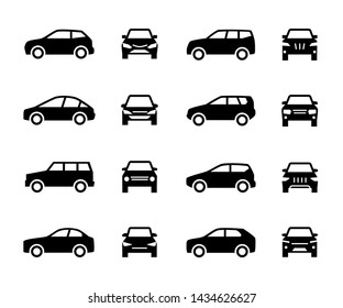 Cars front and side view signs. Vehicle black silhouette icons isolated on white background. Automobile vehicle for transportation, transport automotive illustration