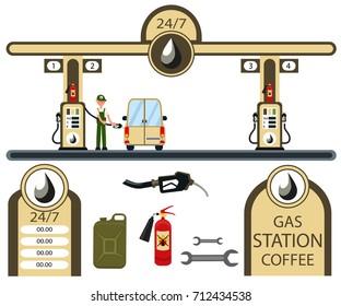 Cars and gas station elements set. Flat illustration