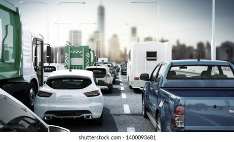 Cars on highway in traffic jam 3d render sity landscape