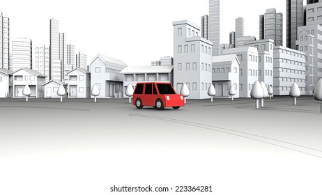 Cars on the street building