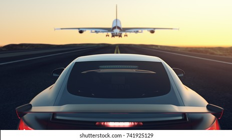 Cars parked on the street. The plane is flying up.3d render and illustration.