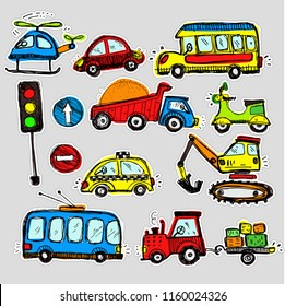 cars stickers. Funny kids sticker art. All objects are isolated.