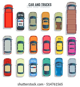 Cars and trucks top view flat icons. Set of car and sedan car for transportation illustration