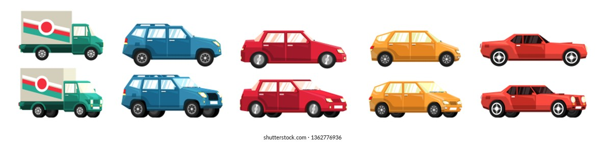 Cars Various - to the truck and SUV. Flat style. Side view and a half turn.