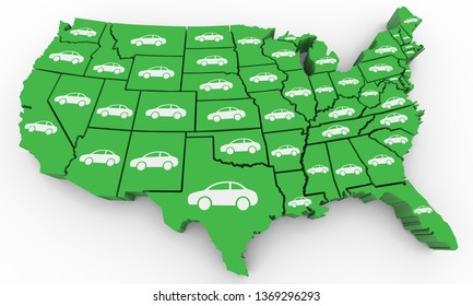Cars Vehicles Automobile Population USA United States America Map 3d Illustration