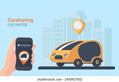 Carsharing service illustration. Urban landscape on background, geolocation mark, car and smartphone in hand. Online rental car.