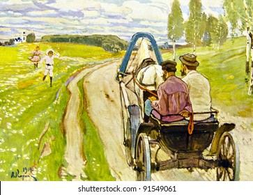 """Cart on a country road -  illustration by A.Korin, """"Illustrated collection of the works by Leo Tolstoy,"""" publisher - """"Partnership Sytin"""", Moscow, Russia, 1914."""