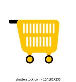 Cart for shopping. Shopping market web, carry pushcart, illustration