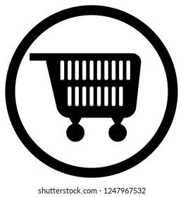 Cart for supermarket icon black white. Consumer shopping cart, pushcart icon. illustration