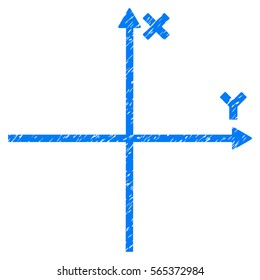 Cartesian Axes grainy textured icon for overlay watermark stamps. Flat symbol with dirty texture. Dotted glyph blue ink rubber seal stamp with grunge design on a white background.