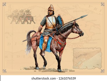 Carthaginian horseman. Historical illustration.