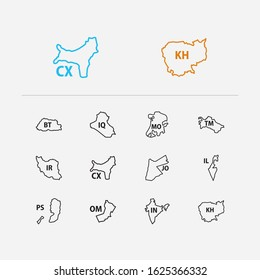 Cartography icons set. Bhutan and cartography icons with oman, iraq and macau. Set of geographical for web app logo UI design.