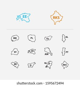 Cartography icons set. Poland and cartography icons with estonia, hungary and belarus. Set of of for web app logo UI design.