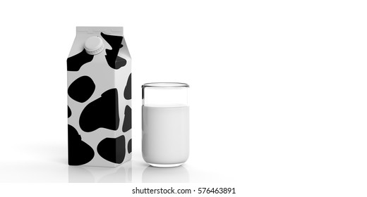 Carton box package and glass of cow milk isolated on white background. 3d illustration