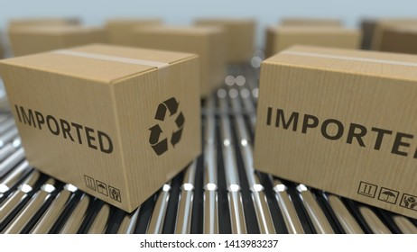 Carton boxes with IMPORTED text move on roller conveyor. 3D rendering