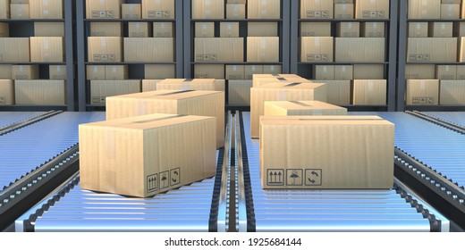 Carton boxes on the conveyor belt. Industry warehouse background, Manufacture, packaging and handling concept. Cardboard package industry production line. 3d illustration