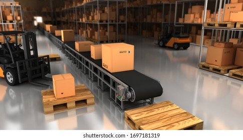 Carton Package in Warehouse. 3D Rendering.