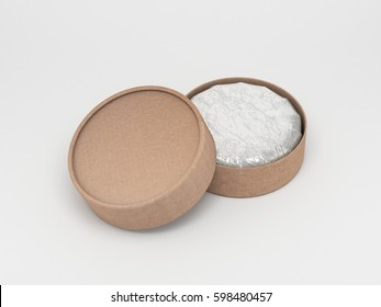 Cartonn round box mockup, cilindrical packaging 3d rendering