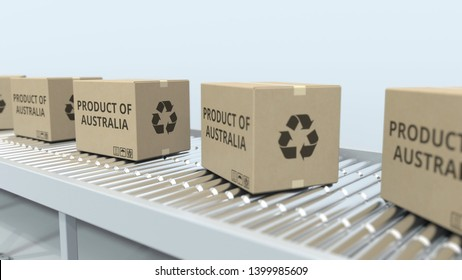 Cartons with PRODUCT OF AUSTRALIA text on roller conveyor. Australian import or export related 3D rendering