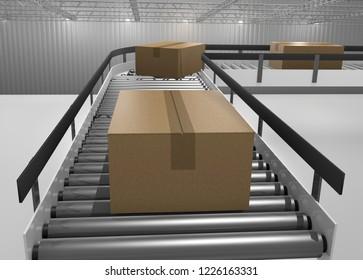 cartons running on a conveyor belt in a warehouse