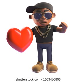 Cartoon 3d black hiphop rapper holding a romantic red heart, 3d illustration render