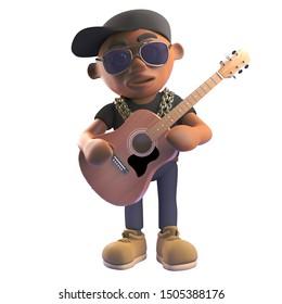 Cartoon 3d black hiphop rapper in baseball cap playing an acoustic guitar, 3d illustration render