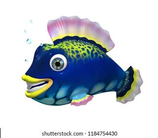Cartoon 3D colorful fish. Character. 3D.