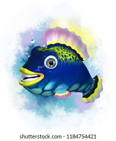 Cartoon 3D colorful fish on a colored background. 3D Character.