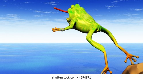 a cartoon 3d frog leaps with tongue extended