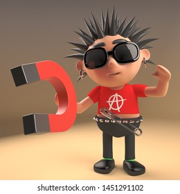 Cartoon 3d punk rocker with spikey hair plays with a magnet, 3d render illustration