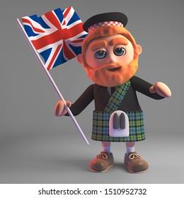 Cartoon 3d Scottish man in kilt and sporran waving a Union Jack British flag, 3d illustration render