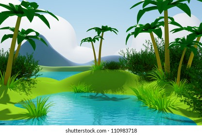 Cartoon 3d tropical jungle landscape with water and mountains.