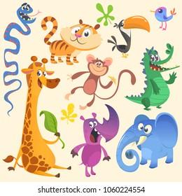 Cartoon African or jungle animal set. Illustration for children book. Crocodile alligator, giraffe, monkey chimpanzee, toucan, rhino, elephant, bluebird, snake, tiger