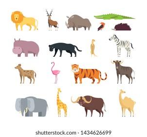 Cartoon african savannah animals. Wild zoo safari mammals, reptiles and birds set isolated on white background. Wild fauna zebra, yak, tiger and giraffe, lion and elephant illustration