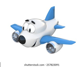 Cartoon airplane with a smiling face