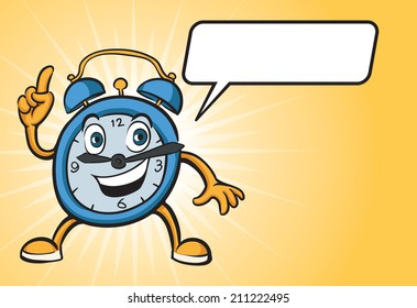 cartoon alarm clock character