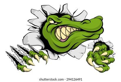 A cartoon alligator or crocodile smashing through a wall with claws and head