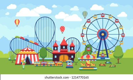 Cartoon amusement park with circus, carousels and roller coaster illustration