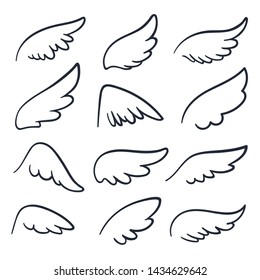 Cartoon angel wings. Winged doodle sketch icons. Angels and bird symbols isolated. Wing sketch tattoo, feather falcon contour illustration