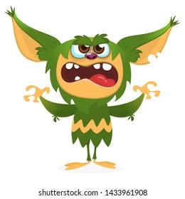 Cartoon angry gremlin. Halloween illustration of furry monster