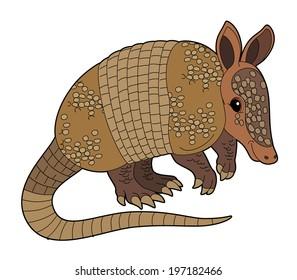 Cartoon animal - armadillo - flat coloring style - illustration for children