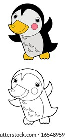 Cartoon animal bird penguin on white background - coloring page sketchbook illustration for the children