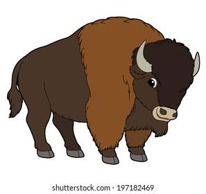 Cartoon animal - buffalo - flat coloring style - illustration for children