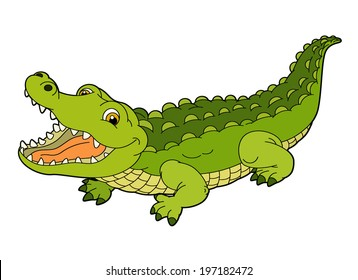 Cartoon animal - crocodile - flat coloring style - illustration for children