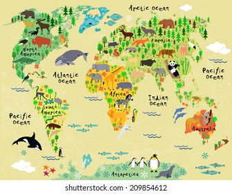Penguin Map Of The World.Animals World Map Images Stock Photos Vectors Shutterstock